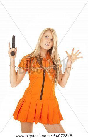 Prisoner Orange Gun Hands Up Frustration