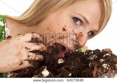 Woman Green Shirt With Cake Tongue