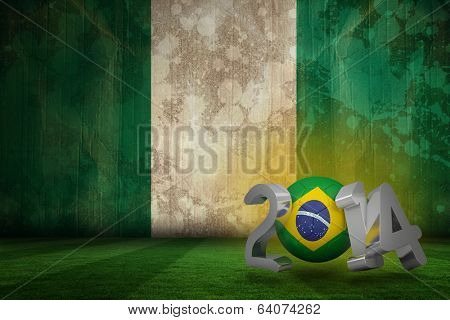 Brazil 2014 against nigeria flag in grunge effect