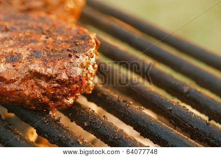 food meat - burgers on bbq barbecue grill Shallow dof.
