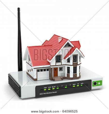 Home wireless network. House on wi-fi  router. 3d