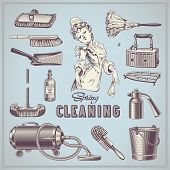 spring cleaning - set of hand-drawn vintage household items poster