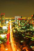 Abstract bokeh of defocused cityscape lights, bangkok , thailand poster