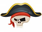 Illustration of a cartoon pirate skull head character with bandana and corsair hat poster