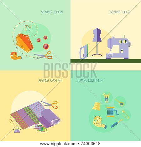 Sewing equipment design tools fashion flat set isolated vector illustration poster