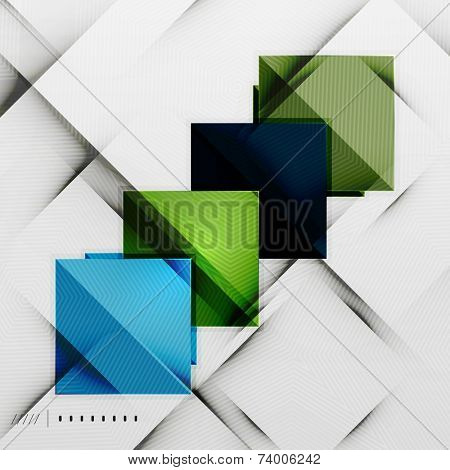 poster of Geometric squares and rhombus futuristic template - colorful business presentation or abstract brochure design, glossy clean style and shadow effects