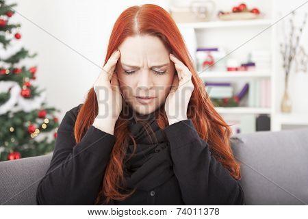 Woman Have Headache On Christmas