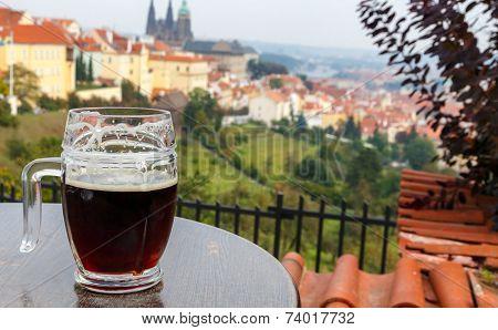 Czech Republic. Prague. View Of Prague Castle From The Terrace Petrin Hill