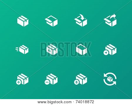 Box icons on green background.