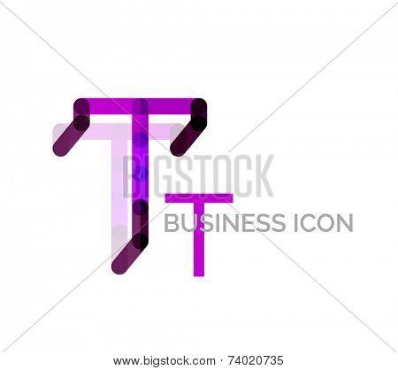 Minimal T font or letter logo design isolated on white poster