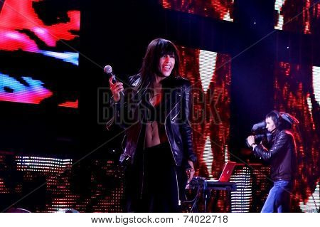 ALMATY, KAZAKHSTAN - SEPTEMBER 20: Loreen performs 'Euphoria' live on 'Muzzone EMA 2014' at Central Stadium on September 20, 2014 Almaty, Kazakhstan.