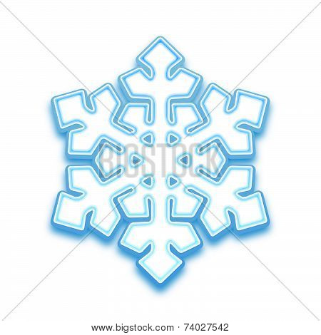 Vector illustration of three-demention snowflake
