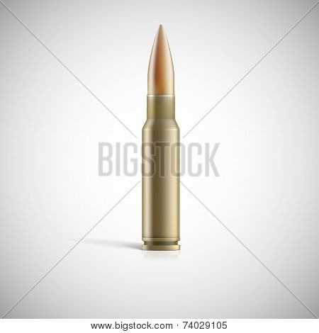 Single bullet. Cartridge for rifle or AK 47 isolated on white background