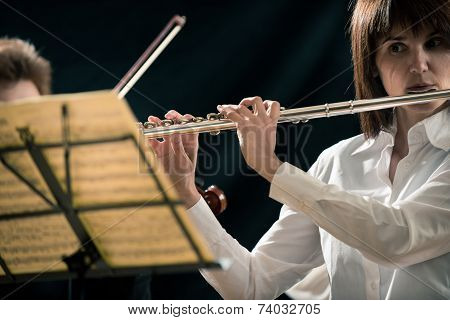Professional Flutist On Stage