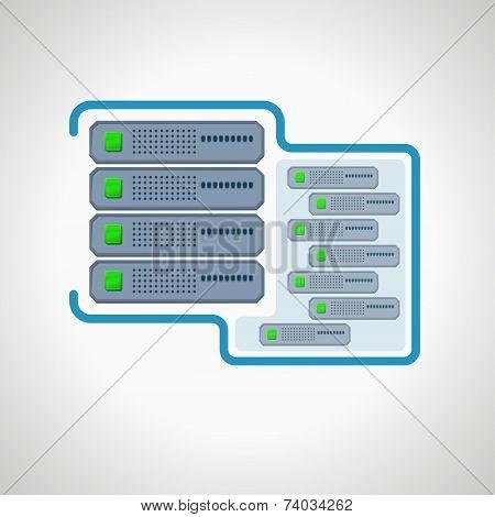 Computer icon Virtual server. design element
