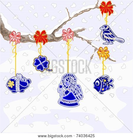 Winter branch with Christmas trimmings faience vintage vector illustration poster