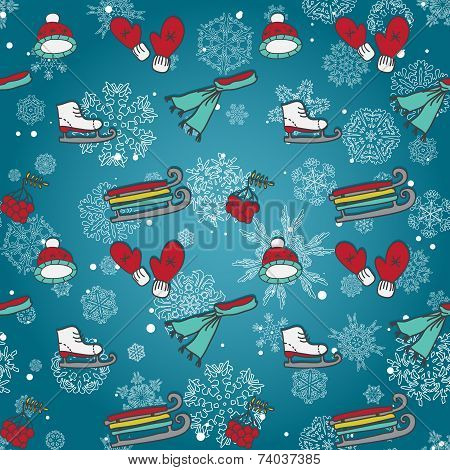 Winter seamless texture with skates sleds mittens winter sports items poster