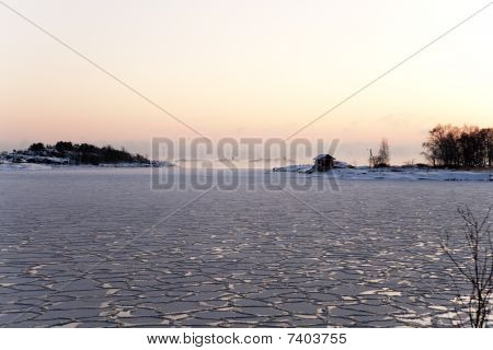 Seashore Landscape In Winter