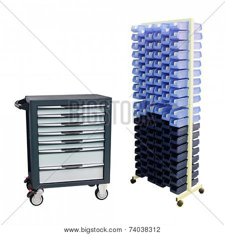 tool boxes on the mobile stand under the white background