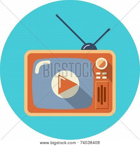 Retro TV with Play Button