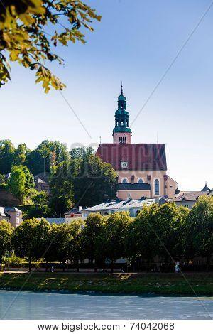Pfarramt Mulln Catholic Church, Overseeing The Historical Old Town In Salzburg