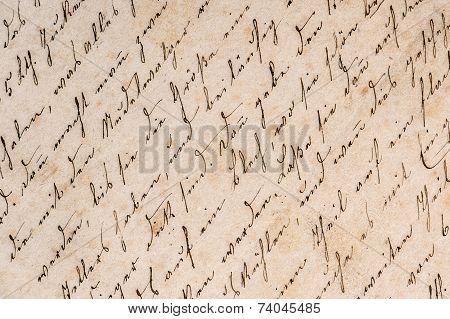 Vintage Handwriting. Grunge Paper Background