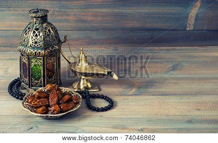Dates, Arabian Lantern And Rosary. Islamic Holiday