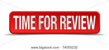 Time for review red 3d square button isolated on white poster