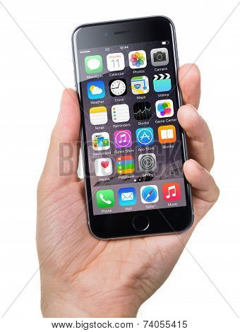 Hand Holding Apple Iphone6 With Various Apps On Screen