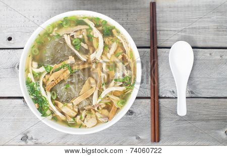 Vietnamese Vermicelli Chicken And Bamboo Shoots Soup - Mien Man Ga - Tet Traditional Meal