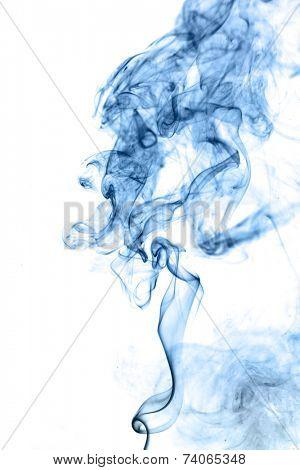 Blue smoke isolated on white