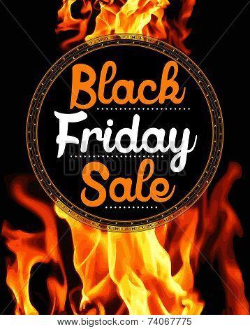 Black Friday Sale on flaming background