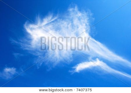 White beautiful clouds in blue sky . poster