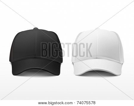 Blank Hats Set In White And Black