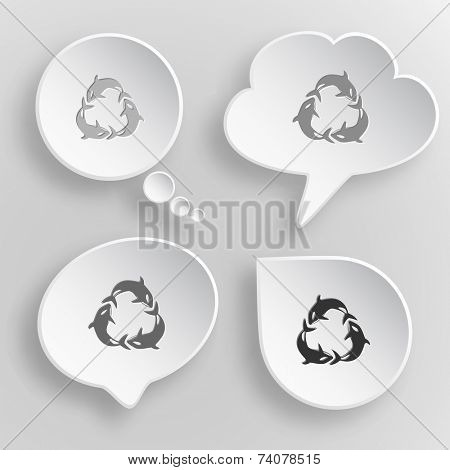 Killer whale. White flat vector buttons on gray background. poster