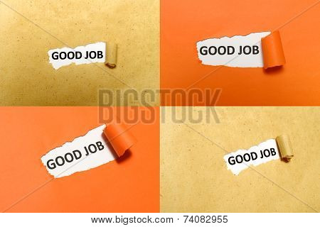 Set of good job text on orange and brown paper poster