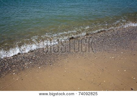 Increasing wave of calm in the Black Sea resort town Bolshevik Ukraine poster