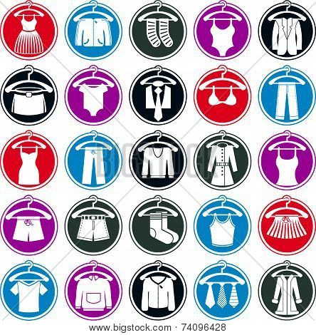 Clothes on a hangers icon set, collection of fashion symbols.