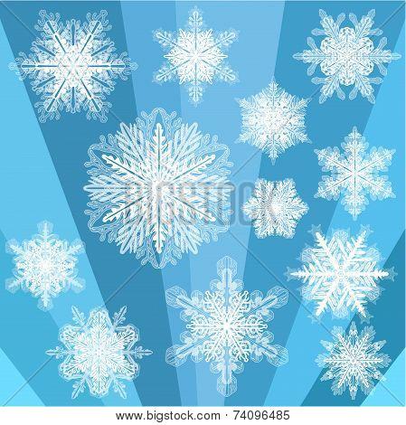 Blue Transparent Snowflake Set
