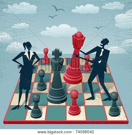 Abstract Businessman And Businesswoman Play A Game Of Chess.