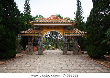 Gate Pagoda To Monastery. Dalat. Vietnam.