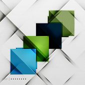 Geometric squares and rhombus futuristic template - colorful business presentation or abstract brochure design, glossy clean style and shadow effects poster