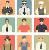 set of avatars of young men engaged in different occupations and professions in the appropriate clothing poster