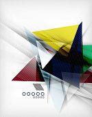 Color triangles, unusual abstract background. Realistic paper 3d composition with shadows and glossy elements, origami concept layout poster