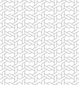 Black and white geometric seamless pattern with line and weave style eps10 vector. poster