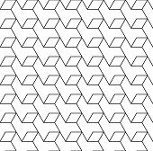 Black and white geometric seamless pattern with line and rhombus eps10 vector. poster