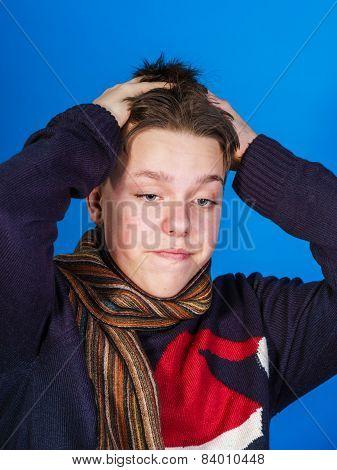 Caucasian Ill Boy Dressed With Neckscarf