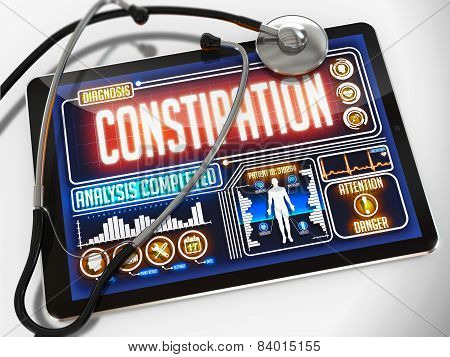 Constipation  on the Display of Medical Tablet.