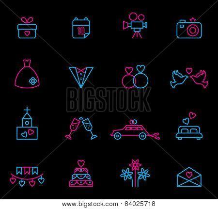 Line wedding icons