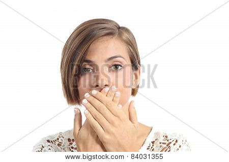 Woman Covering Her Mouth Because Bad Breath